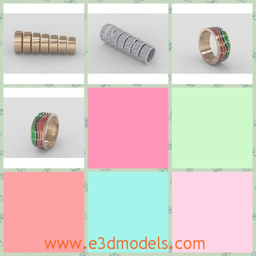 3d models of enamel rings with wave shape - These are 3d models about some enamel rings which look like the waves. These rings have shiny golden surfaces and are either of one color or with various colors.