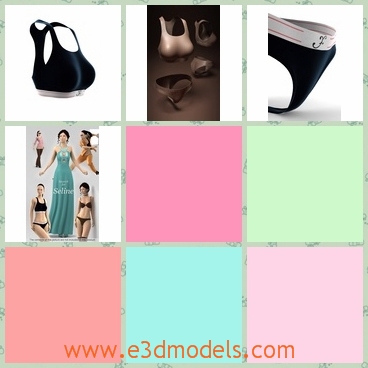 3d models of female sport bra and panties - Share and
