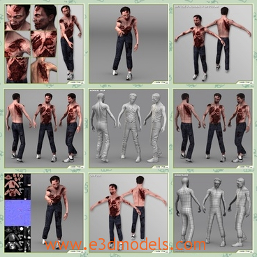 3d models of male zombies - These 3d models are about some male zombies in black pants.The model is a low poly composed by quads and triangles distributed across the topology in a well balanced way.