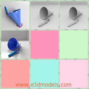 3d models of party hat and whistle - Here we have some 3d models about a party hat and a whistle. They have blue color and is made of plastic.