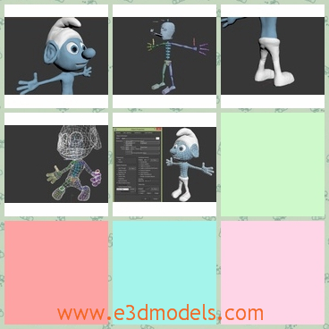 3d models of rigged smurf - There are some 3d models which are about a rigged smurf. This cartoon has a strange white cap and thin arms. His eyes are big and bulging.