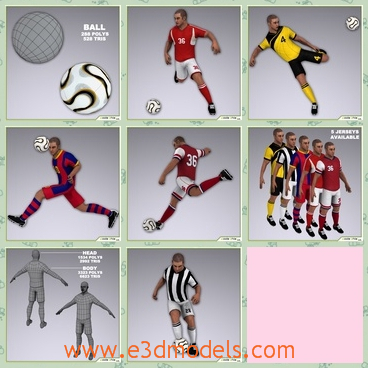 3d models of soccer players - These 3d models are about some soccer players in red or yellow clothes. They are running or kicking the white football and they are stong and tall.