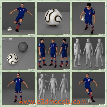 3d models of soccer players - There are some 3d models which are about three soccer players in blue clothes. They have short black hair and stong limbs.