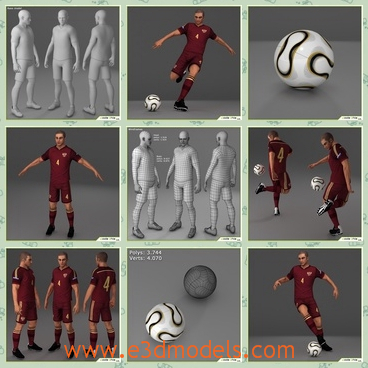 3d models of soccer players - These 3d models are about soccer players who wear red clothes. The model is a high poly composed by quads and triangles distributed across the topology in a well balanced way.