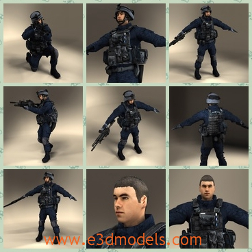3d models of SWAT policemen - These are 3d models of some SWAT policemen. These ploicemen are stong and tough and they wear some uniforms except one doesn't wear a helmet.