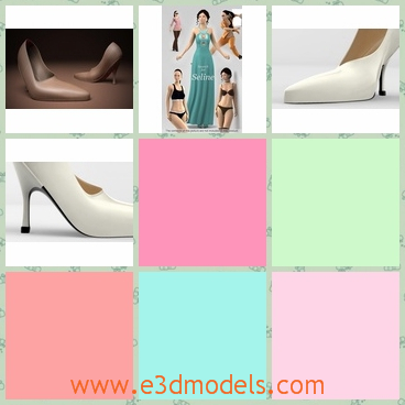 3d models of white high-heeled shoes - Here are some 3d models about white high-heeled shoes. These shoes have sexy thin heels and these shoes have a sharp toe cap.