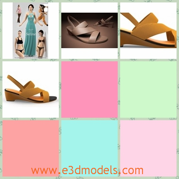 3d models of yellow sandal shoes - These 3d models are about yellow sandal shoes. These shoes have a little high heels and smooth yellow leather stripes.