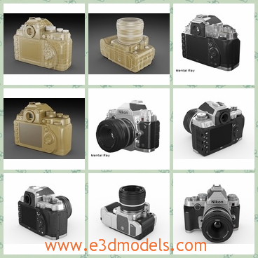 3d model about Nikon DF digital camera - There are several pictures of a 3d model which are about a black Nikon DF digital camera.This is a detailed and textured model of Nikon DF digidal camera with Nikkor lens.In each scene,the model is provided with mesh smooth modifier on stack on objects that need it.