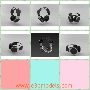 3d model headphones in black - This is a 3d model of the headphones in black,which is small but cute.The model is useful in the listenning classes.