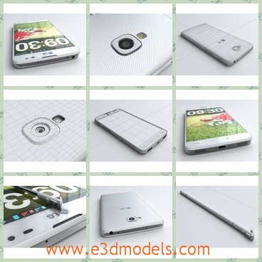 3d model of a LG cellphone - This 3d model is about a LG cellphone. This cellphone has white frame and a smooth screen. It also has a small camera.