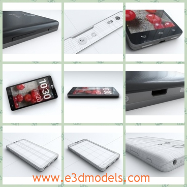 3d model of a LG cellphone - This is a fully detailed, textured model about a LG cellphone which has black rim. It is detailed enough for close-up renders.
