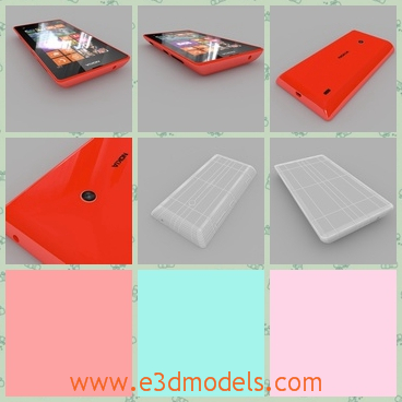 3d model of Nokia Lumia - This is a 3d model of a Nokia Lumia which is a pretty cellphone with red frame. It has a wide touchscreen and a small camera on the back.