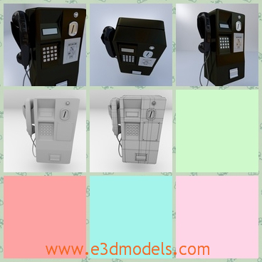 3d model public telephone - This is a 3d model of the Public Telephone with two colors of white and black.The shape is big and it looks heavy in the first sight.