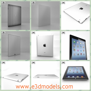 3d model the Apple iPad 4 in white - This is a 3d model of the Applw iPad 4 in white,which is popular and common nowadays.The model can be used as a computer as well.