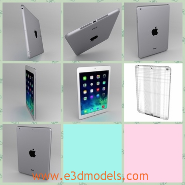 3d model the apple ipad air with a tablet - This is a 3d model of the Apple iPad Air with a tablet,which is convenient and the model can be used as the computer.