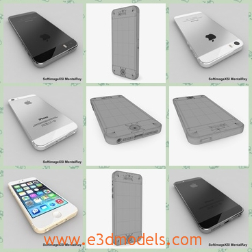 3d model the apple iphone 5s - This is a 3d model of the Apple iPhone 5s,which are presented in two colors.The black and the white.The phone was made in America and the shape is so popular around the world.