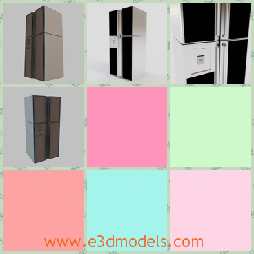 3d model the double door in the refrigerator - This is a 3d model of the double door in the refrigerator,which is large and modern.The model is perfect for nicely interior scene.