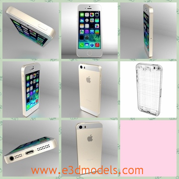 3d model the iPhone 5s - This is a 3d model of the iPhone 5s,which is white and has a touchscreen.The phone is famous around the world.