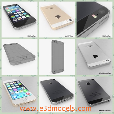 3d model the iPhone 5s - This is a 3d model of the iPhone 5s,which is nicely organized, has correct names for all objects and has good topology, TRI and QUAD polygons only.