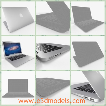 3d model the laptop of Apple - This is a 3d model of the laptop of Apple,which is 11 inch and there is the apple shape on the top of the computer.