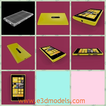 3d model the nokia phone in yellow - This is a 3d model of the NOkia phone in yellow,which has a touchscreen and the materials of the phone is better than others.