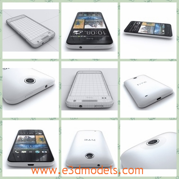 3d model the phone of HTC - This is a 3d model of the phone of HTC,which is composed of the black front and the white back.The cellphone has a touchscree.