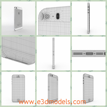 3d model the phone of iphone - This is a 3d model of the phone of iPhone 5s in silver,which is made in America and it is popular in China and other countries.