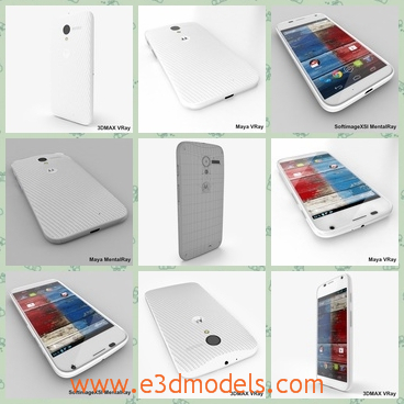 3d model the phone of Motorola - This is a 3d model of the phone of Motorola,which is white and it has a cellphone.