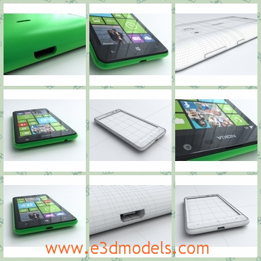 3d model the phone of Nokia - This is a 3d model of the phone of NOkia,which is the famous brand in the world.The phone is charming due to the green cover.