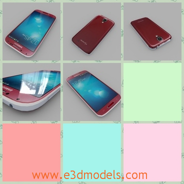 3d model the phone of Samsung - This is a 3d model of the phone of Samsung,which is red and charming.THe mobilephone has a touchscreen.