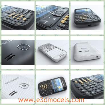 3d model the phone of Samsung with keyboard - This is a 3d model of the phone of Samsung with keyboard,which is black and large.The phone is made with a touchscreen.