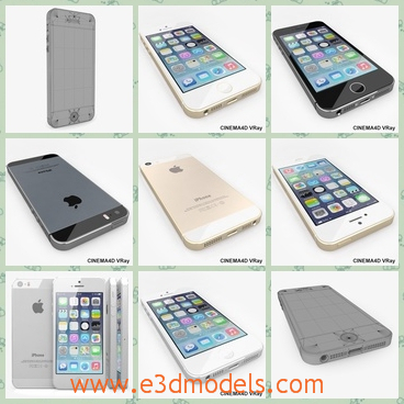 3d model the phone of the iPhone 5s - This is a 3d model of the phone of the iPhone 5s,which is presented in three colors.They are white,black and golden.The golden one is the new one and popular around the world.