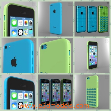 3d model the phone with a green cover - This is a 3d model of the iPhone with a green cover,which is popular and famous around the world.The phone was made in America and it is so expensive.