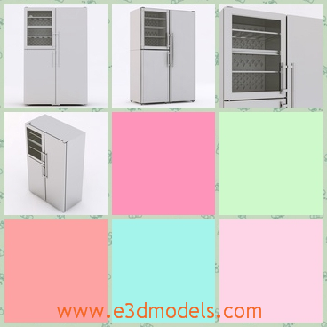 3d model the refrigerator in the kitchen - This is a 3d model of the regrigerator in the kitchen,which is white and tall.There are two doors with it,both of them can be opened.