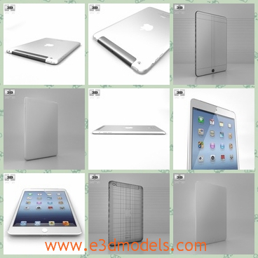3d model the white Mini iPad - This is a 3d model of the MIni iPhad,which has a large screen and convenient to carry.The model is the product from Apple company.