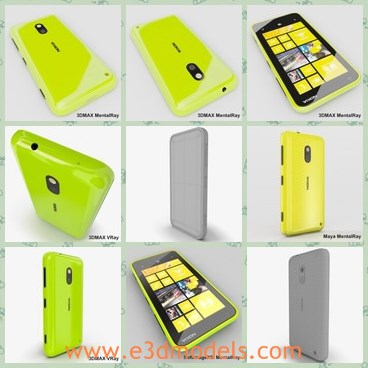3d model the yellow Nokia - This is a 3d model of the yellow Nokia,which is popular and famous in several countries.The phone is characterized by good quality and high performance.