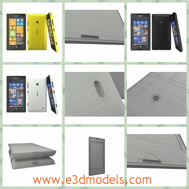 3d models of Nokia lumia 520 - These 3d models are about the Nokia lumia 520 which is a smartphone with yellow or black surfaces.It is modelled in 3ds max 2012 and rendered with vray.