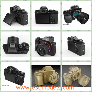 3d models of Sony Alpha 7R camera - There are 3d models which show us different perspectives of Sony Alpha 7R camera. This is an advanced black digital camera with Carl Zeiss lens.