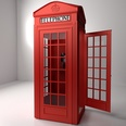 3d model the phone booth in red