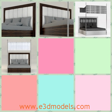 3d model a bedroom - This is a 3d model about a bed in the bedroom,which is big and spacious and the bed is in the high quality.