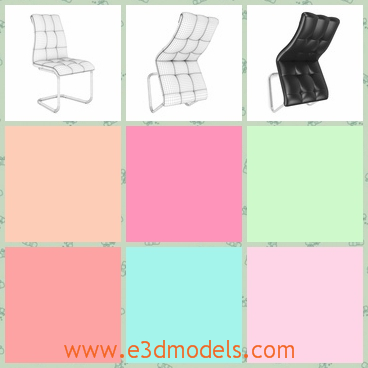 3d model a black chair in leather - This is a 3d model about the chair in leather,which is black and the tilted back feels comfortable and smooth.