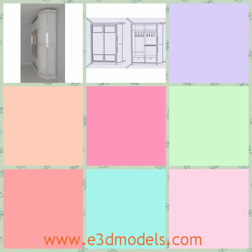 3d model a cabinet against the wall - This is a 3d model of a cabinet against the wall,which is produced in modern style.The cabinet is spacious.