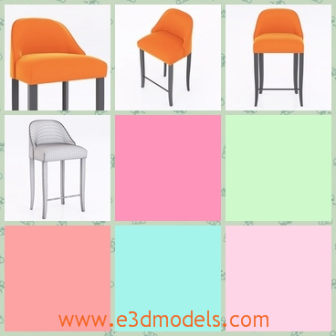 3d model a chair in the bar - This is a model about the stool chair in the bar,which has four feet and is orange and with a back.The model is also only suitable for restaurants and bars.