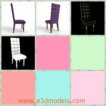 3d model a chair wiht a high back - This is a 3d model of a chair with a high back,which is covered in velvet materials.The four legs are exquisite and fine.
