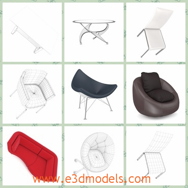 3d model a collection of sofa - This is a 3d model of a set of collection of sofa,which contains hocker charis, leather chairs, tables, sofas and others.