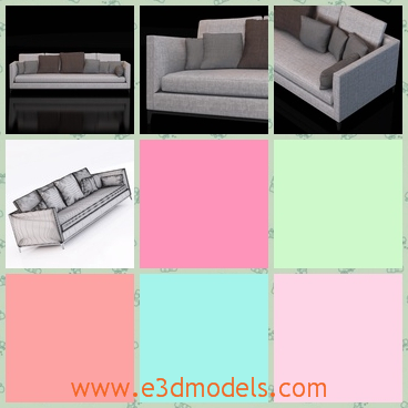 3d model a long couch in the living room - This is a 3d model about a long couch,which has several bolsters on it.The color is very suitable.
