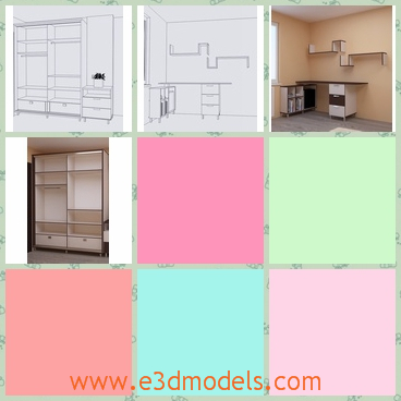 3d model a modern closet - This is a 3d model of a moderd closet in the bedroom,which has wardrobes and the spacious.