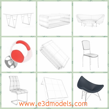 3d model a set of furnitures - This is a 3d model about a series of sofas in the living room,which contains several forms and colors.You can find in it: hocker charis, leather chairs, tables, sofas and others.