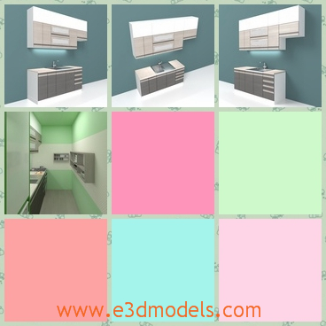 3d model a simple kitchen with modern design - This is a 3d model about a simple kitchen with modern design.There are many cuoboards with the desk.And the whole body is separated with each other.