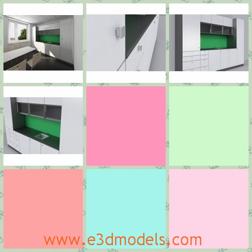 3d model a simple modern kitchen - This is a 3d model about the simple modern kitchen with modern design,which has sink and shelf with it and the green color is outstanding in it.